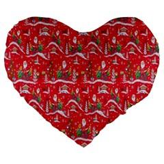 Red Background Christmas Large 19  Premium Flano Heart Shape Cushions by Nexatart