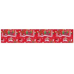 Red Background Christmas Large Flano Scarf