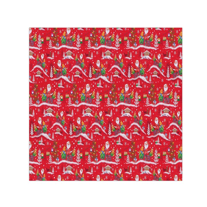 Red Background Christmas Small Satin Scarf (Square)