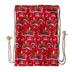 Red Background Christmas Drawstring Bag (large)