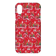 Red Background Christmas Apple Iphone X Hardshell Case