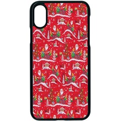 Red Background Christmas Apple Iphone X Seamless Case (black)