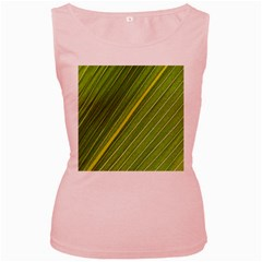 Leaf Plant Nature Pattern Women s Pink Tank Top