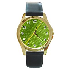 Leaf Plant Nature Pattern Round Gold Metal Watch