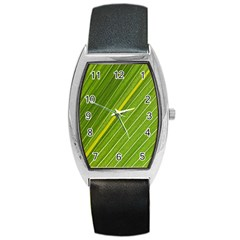 Leaf Plant Nature Pattern Barrel Style Metal Watch