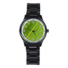 Leaf Plant Nature Pattern Stainless Steel Round Watch