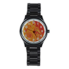 Texture Pattern Abstract Art Stainless Steel Round Watch