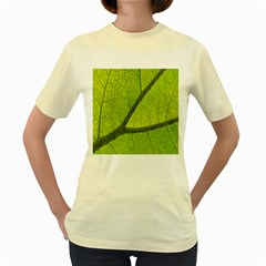 Green Leaf Plant Nature Structure Women s Yellow T Shirt