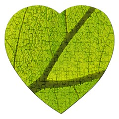 Green Leaf Plant Nature Structure Jigsaw Puzzle (heart)