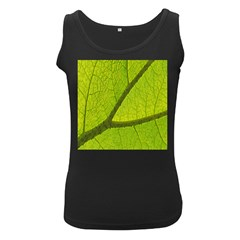 Green Leaf Plant Nature Structure Women s Black Tank Top