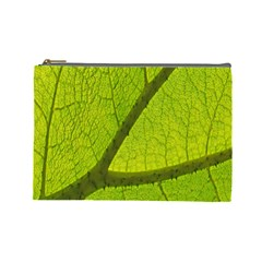 Green Leaf Plant Nature Structure Cosmetic Bag (large)