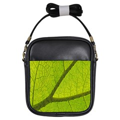 Green Leaf Plant Nature Structure Girls Sling Bags
