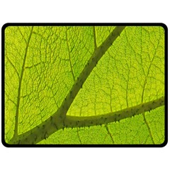 Green Leaf Plant Nature Structure Fleece Blanket (large)