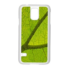 Green Leaf Plant Nature Structure Samsung Galaxy S5 Case (white)