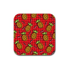 Fruit Pineapple Red Yellow Green Rubber Square Coaster (4 Pack)  by Alisyart