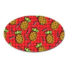 Fruit Pineapple Red Yellow Green Oval Magnet by Alisyart