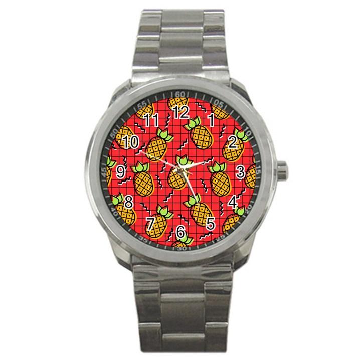 Fruit Pineapple Red Yellow Green Sport Metal Watch