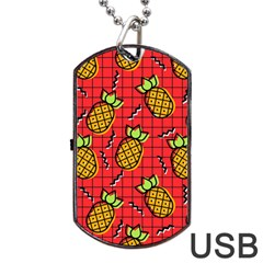 Fruit Pineapple Red Yellow Green Dog Tag Usb Flash (two Sides) by Alisyart