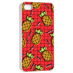 Fruit Pineapple Red Yellow Green Apple Iphone 4/4s Seamless Case (white) by Alisyart