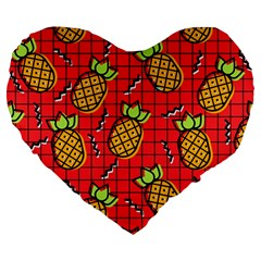 Fruit Pineapple Red Yellow Green Large 19  Premium Heart Shape Cushions by Alisyart
