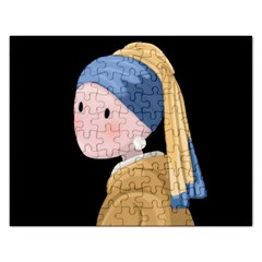 Girl With A Pearl Earring Rectangular Jigsaw Puzzl by Valentinaart