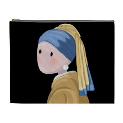 Girl With A Pearl Earring Cosmetic Bag (xl) by Valentinaart