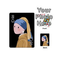Girl With A Pearl Earring Playing Cards 54 (mini)  by Valentinaart