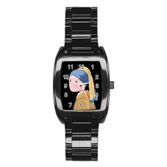 Girl With A Pearl Earring Stainless Steel Barrel Watch by Valentinaart