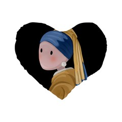 Girl With A Pearl Earring Standard 16  Premium Flano Heart Shape Cushions by Valentinaart