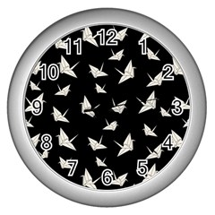 Paper Cranes Pattern Wall Clocks (silver)  by Valentinaart