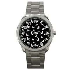 Paper Cranes Pattern Sport Metal Watch by Valentinaart