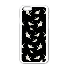 Paper Cranes Pattern Apple Iphone 6/6s White Enamel Case by Valentinaart