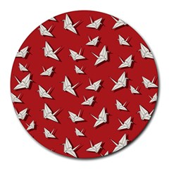 Paper Cranes Pattern Round Mousepads by Valentinaart