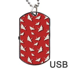 Paper Cranes Pattern Dog Tag Usb Flash (one Side) by Valentinaart