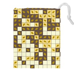 Autumn Leaves Pattern Drawstring Pouches (xxl) by linceazul
