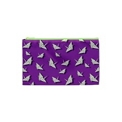 Paper Cranes Pattern Cosmetic Bag (xs) by Valentinaart