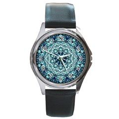 Green Blue Black Mandala  Psychedelic Pattern Round Metal Watch