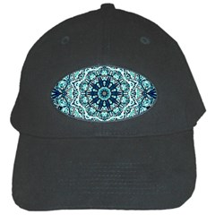 Green Blue Black Mandala  Psychedelic Pattern Black Cap by Costasonlineshop