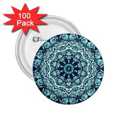 Green Blue Black Mandala  Psychedelic Pattern 2 25  Buttons (100 Pack)  by Costasonlineshop