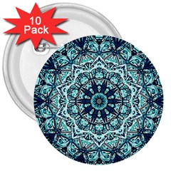 Green Blue Black Mandala  Psychedelic Pattern 3  Buttons (10 Pack)  by Costasonlineshop