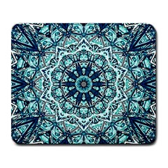Green Blue Black Mandala  Psychedelic Pattern Large Mousepads by Costasonlineshop