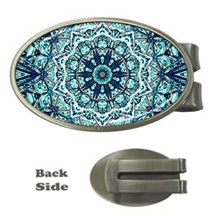 Green Blue Black Mandala  Psychedelic Pattern Money Clips (oval)