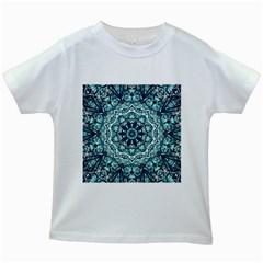 Green Blue Black Mandala  Psychedelic Pattern Kids White T Shirts