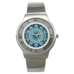 Green Blue Black Mandala  Psychedelic Pattern Stainless Steel Watch by Costasonlineshop