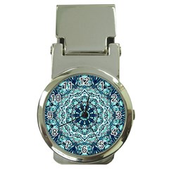 Green Blue Black Mandala  Psychedelic Pattern Money Clip Watches by Costasonlineshop