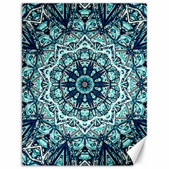 Green Blue Black Mandala  Psychedelic Pattern Canvas 12  X 16