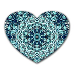 Green Blue Black Mandala  Psychedelic Pattern Heart Mousepads
