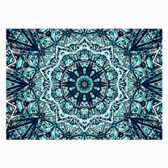 Green Blue Black Mandala  Psychedelic Pattern Large Glasses Cloth (2 Side) by Costasonlineshop