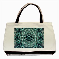 Green Blue Black Mandala  Psychedelic Pattern Basic Tote Bag (two Sides)