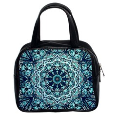 Green Blue Black Mandala  Psychedelic Pattern Classic Handbags (2 Sides) by Costasonlineshop